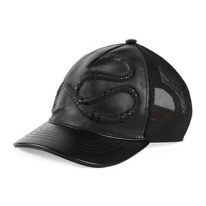 Gucci Snake-Embossed Leather Baseball Hat